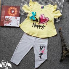 Bộ thun lửng bé gái (6 tháng – 8 tuổi) – Disney – Áo vàng quần xám