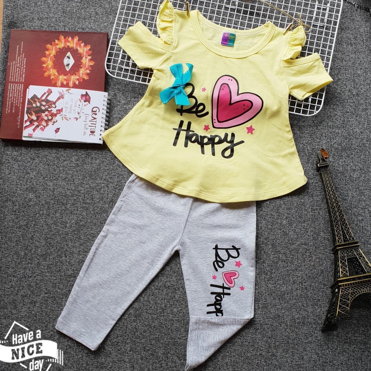 Bộ thun lửng bé gái (6 tháng - 8 tuổi) - Disney - Áo vàng quần xám