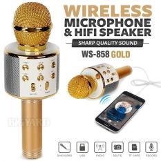 Micro hát karaoke Bluetooth kèm loa WS-858 tặng Nút chống bụi điện thoại