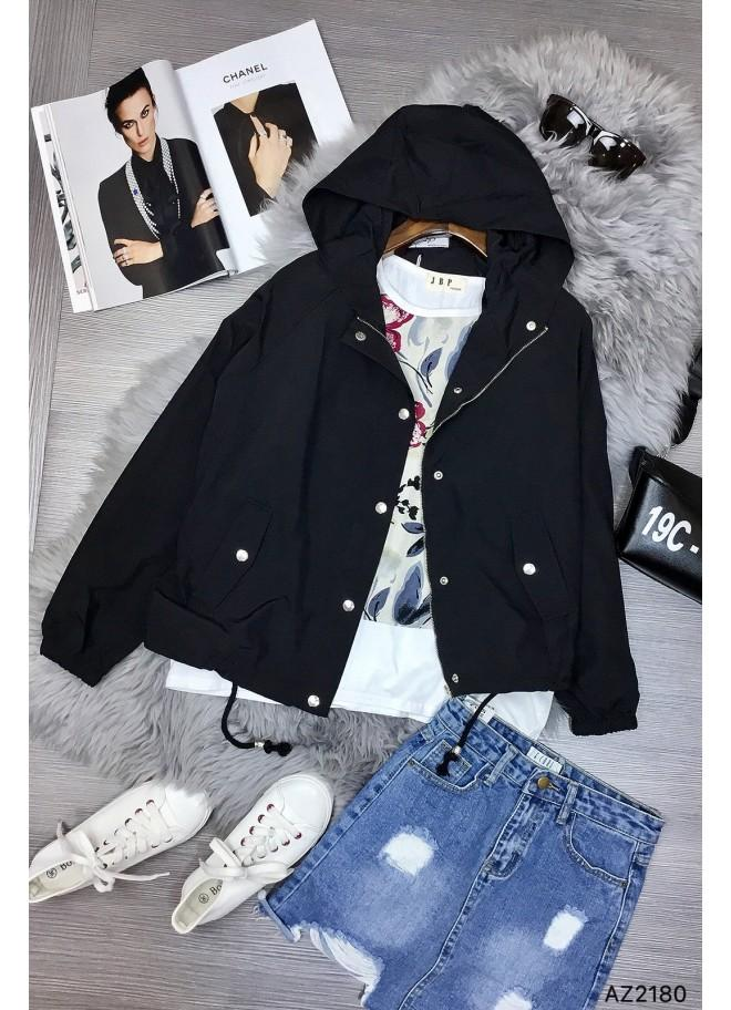 Áo khoác dù nút bấm phối nón (màu đen)