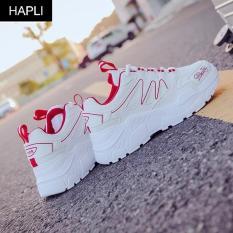 Giày sneaker nữ độn đế đẹp vạch sóng HAPLI (Trắng vạch đỏ, Trắng vạch đen)