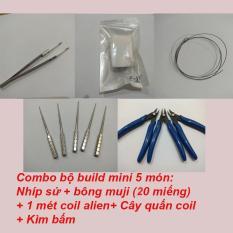 Combo Build Coil cơ bản – Kềm + Nhíp sứ + Que quấn coil + 1 mét Coil alien + 20 Bông Muji