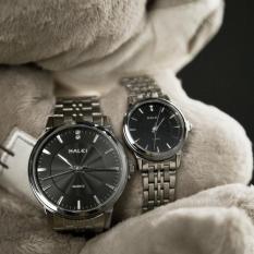 Cặp Đồng hồ Halei nam nữ cao cấp chống xước, chống nước tuyệt đối (Giá 1 đôi) dây trắng mặt đen