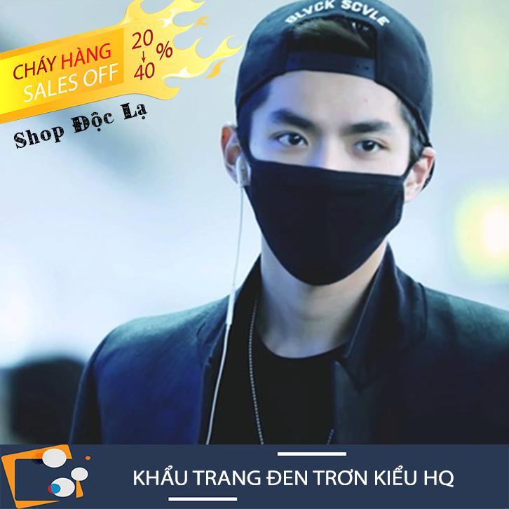 Khẩu Trang Đen Trơn Kiểu Hàn Quốc Bad Boy Vải Mềm Form Đầy Đặn