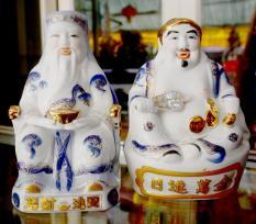 Bộ Thần Tài Thổ Địa sứ trắng xanh cao 18cm