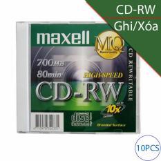 Đĩa trắng CD-RW (ghi và xóa nhiều lần) 700Mbps 80min 4x-10x MAXELL (10 chiếc)