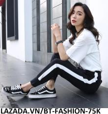Quần Dài Nữ Thun Phom Rộng Jogger Thể Thao Thời Trang Hàn Quốc – BT Fashion (Sọc Bo – 01)
