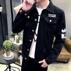 Áo khoác jean đen nam tay dài in cá tính