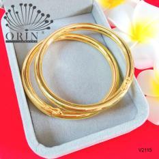 Bộ 2 vòng tay nữ vòng bọng trơn màu 24 xi mạ bền màu cao cấp Orin V2115