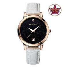 Đồng hồ nữ dây da cao cấp SANDA JAPAN MOVT SA194 – dây trắng, tặng kèm dây chuyền tỳ hưu thạch anh