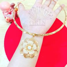 Kiềng đeo cổ mạ vàng thời trang nữ mặt hoa mai lưới viền đính đá sang trọng Orin D3640