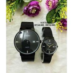Đồng hồ đôi HALEI dây lưới đen mặt đen huyền bí – 550