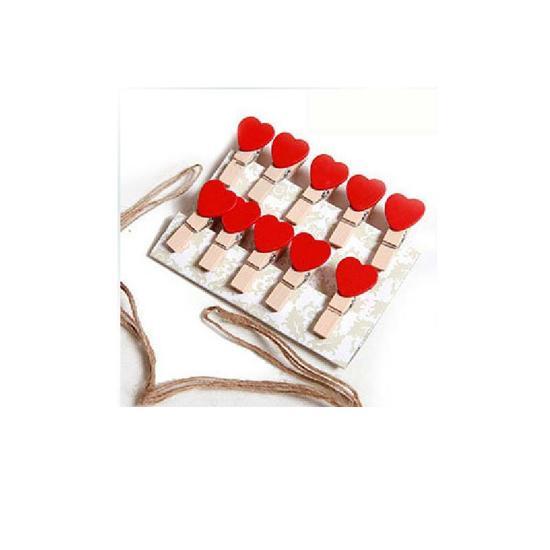 Bộ 10 Kẹp gỗ hình trái tim đỏ treo hình ảnh + dây thừng