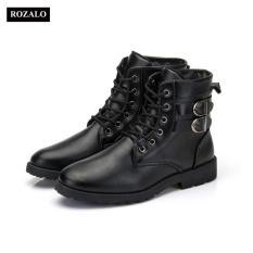 Giày boot nam cổ cao đính khuy cài kiểu quân đội Rozalo RM5281
