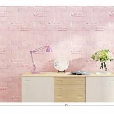 10m Giấy dán tường sẵn keo khổ 45cm hình Gỉa gạch hồng