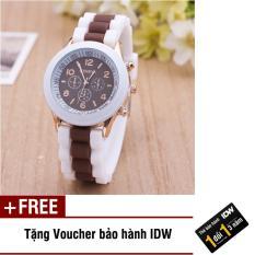 [Có video quay thật] Đồng hồ nữ dây silicon thời trang Geneva IDW 8291 + Tặng kèm voucher bảo hành IDW