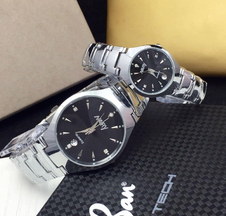 Đồng hồ cặp dây thép cao cấp Nary Golden (Dây Bạc, Mặt Đen)