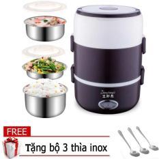 Hộp cơm hâm nóng cắm điện 3 tầng inox, ca men inox 3 tang cam dien, ca men nấu cơm thông minh (Đen) + Tặng 03 thìa inox