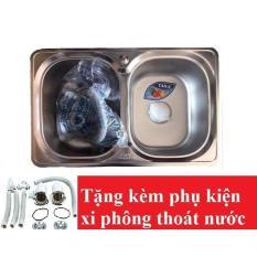 Chậu rửa bát Inox Tân Á xuất khẩu 2 ngăn (không có bàn) – đã đủ phụ kiện thoát nước