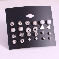 Set 12 Đôi Khuyên Tai, bông tai,khuyên đeo tai,bộ khuyên tai Hàn Quốc Đẹp – Bạc + tặng kèm thẻ tích điểm trangstore