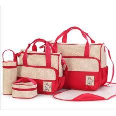 Bộ túi đựng đồ 5 chi tiết cho mẹ và bé ( màu đỏ)