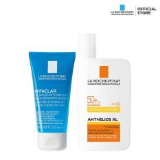 Bộ đôi dành cho da dầu nhạy cảm Kem chống nắng không gây nhờn rít La Roche Posay Anthelios Fluid SPF 50+ 50ML và Gel rửa mặt Effaclar Gel 50ML