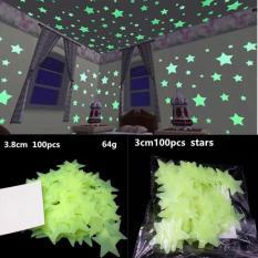 100 Ngôi Sao Dán Tường Dạ Quang 3cm phát sáng trong đêm- Xanh lá cây