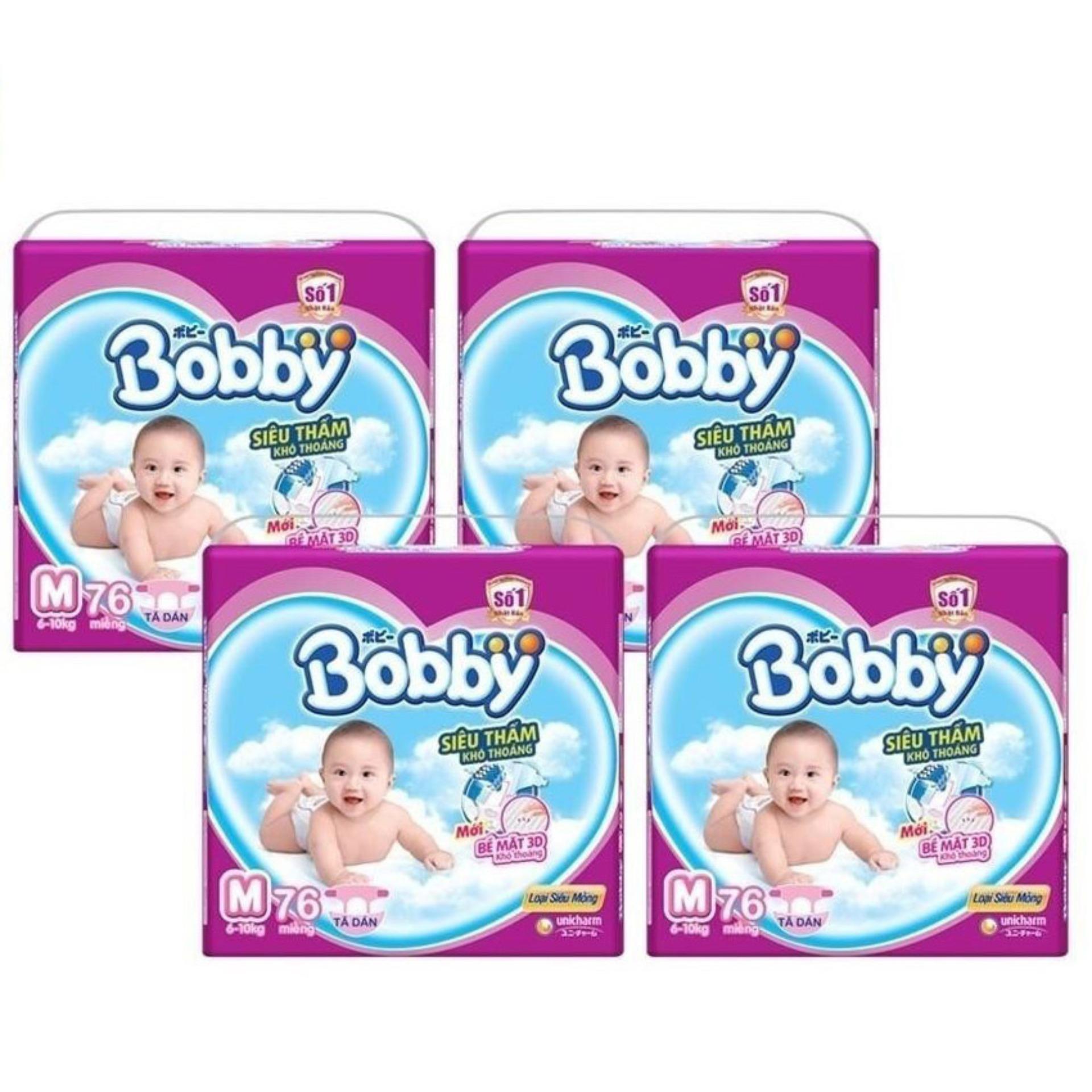 Bộ 4 gói tã giấy Bobby siêu mỏng M76