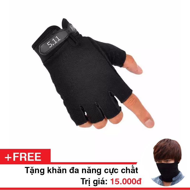 Găng tay 5.11 cụt ngón ! Tặng kèm 1 khăn đa năng Phươt !