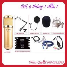 COMBO Bộ Livestream AMI BM900- Card Xox K10- Dây Livestream Loại Tốt- Chân Kẹp Míc- Màng Lọc Âm BH 6 Tháng Đổi