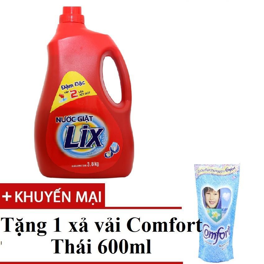 [1 tặng 1] Nước giặt Lix Đậm đặc chai 3,8kg tặng 1 Comfort thái 580ml