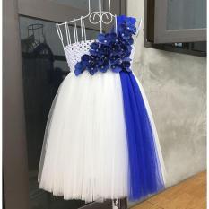 Váy công chúa trắng dải xanh coban