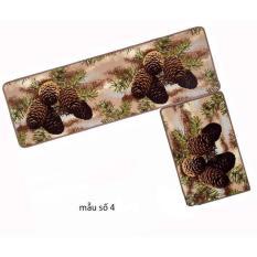 Bộ 02 thảm nhà bếp cao cấp có hoa văn (40 x 60 và 40 x 120 cm)_Mẫu số 4 quả thông