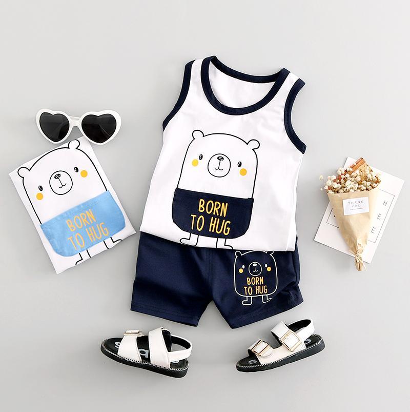 Bộ cotton sát nách cho bé yêu hình gấu BK5 + Tặng kèm thẻ tích điểm Trangstore