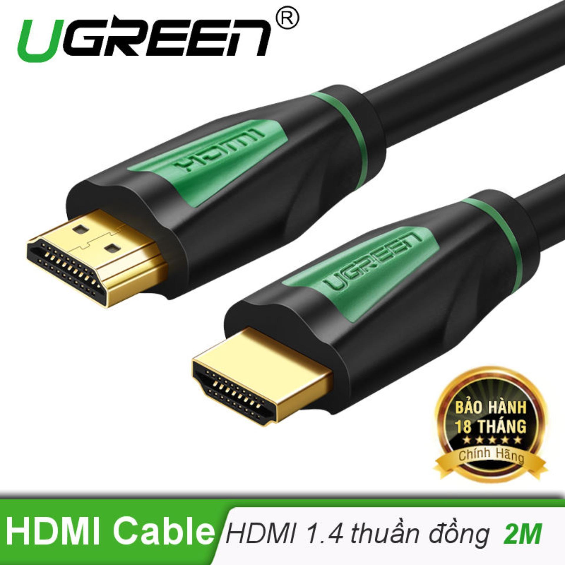 Dây HDMI 1.4 thuần đồng khử Oxy hóa, mạ vàng 24K dài 2M UGREEN HD116 30191 - Hãng phân phối...