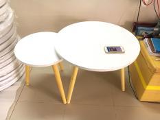 BSF – Cặp bàn tròn trắng sofa phòng khách 60-40, bàn cafe, bàn trà, coffee