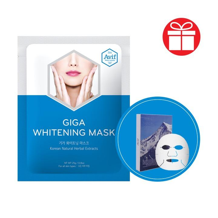 COMBO 7 MẶT NẠ TENCEL DƯỠNG TRẮNG DA Avif Giga Whitening Mask + Tặng 14 Tuýp Kem Serum Làm Mịn Da Tức Thì Beta-glucan Soothing Cream