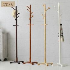 Wooden Coat Rack Stand, with 8 Hooks Lacquered Pine Wood Tree Coat Rack Stand for Coats, Hats, Scarves, Clothes, and Handbags