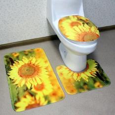 [Loại 1] Bộ thảm 3D toilet hoa hướng dương chống trượt