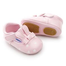 Giày búp bê thỏ chấm bi da PU đế chống trượt đính cao su
