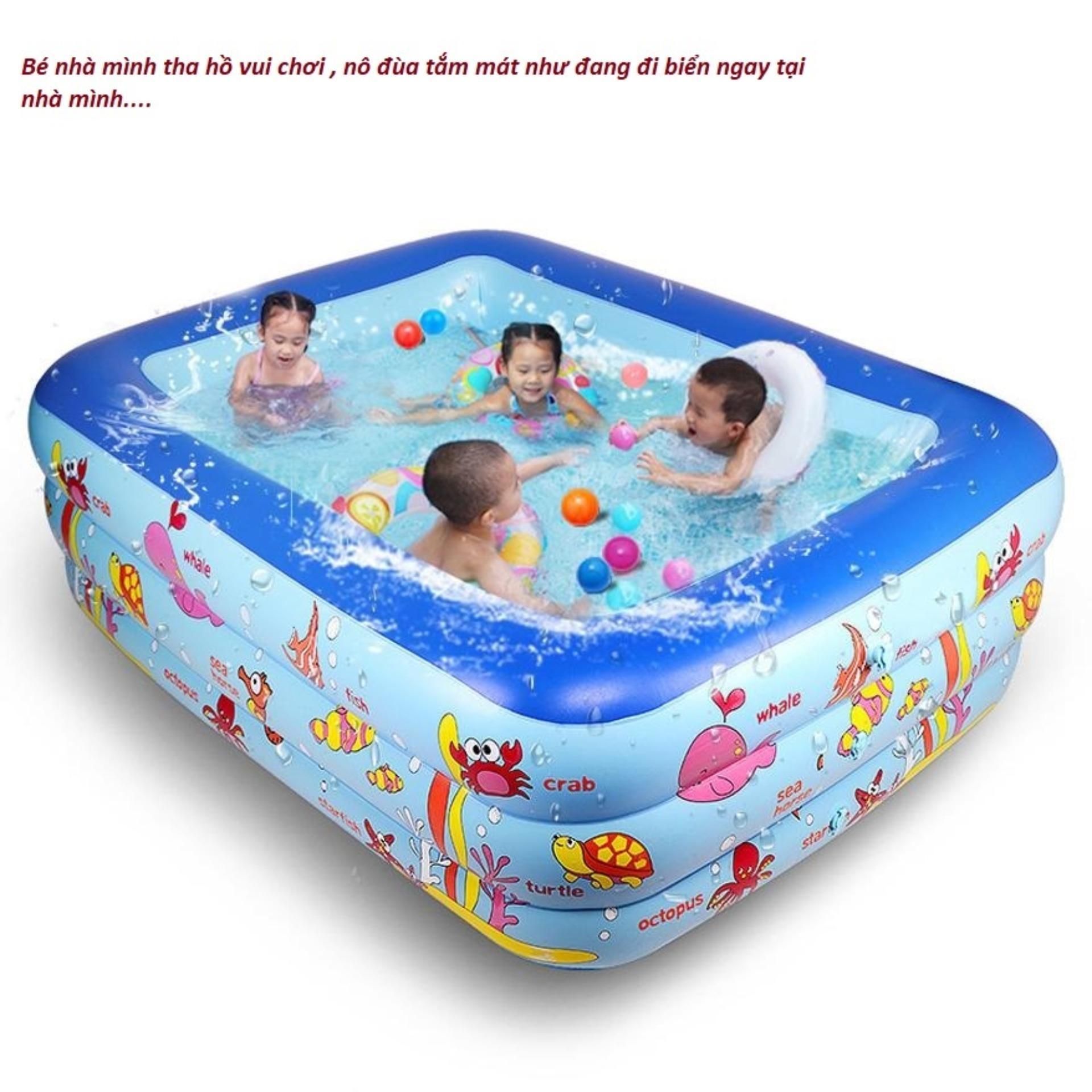 Bể Bơi Mùa Đông Ở Hà Nội, Bể Phao Bơi Cho Bé, Bể Phao Bơi Trẻ Em, Bể Bơi Phao Trẻ Em 3 Tầng, Chất Liệu Cao Cấp , Độ Bền Cao, Tặng Ngay 01 Bơm Bể Bơi Cao Cấp