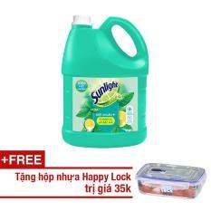 Nước rửa chén Sunlight Diệt Khuẩn chai 3.8kg + Tặng 1 hộp Happy Lock