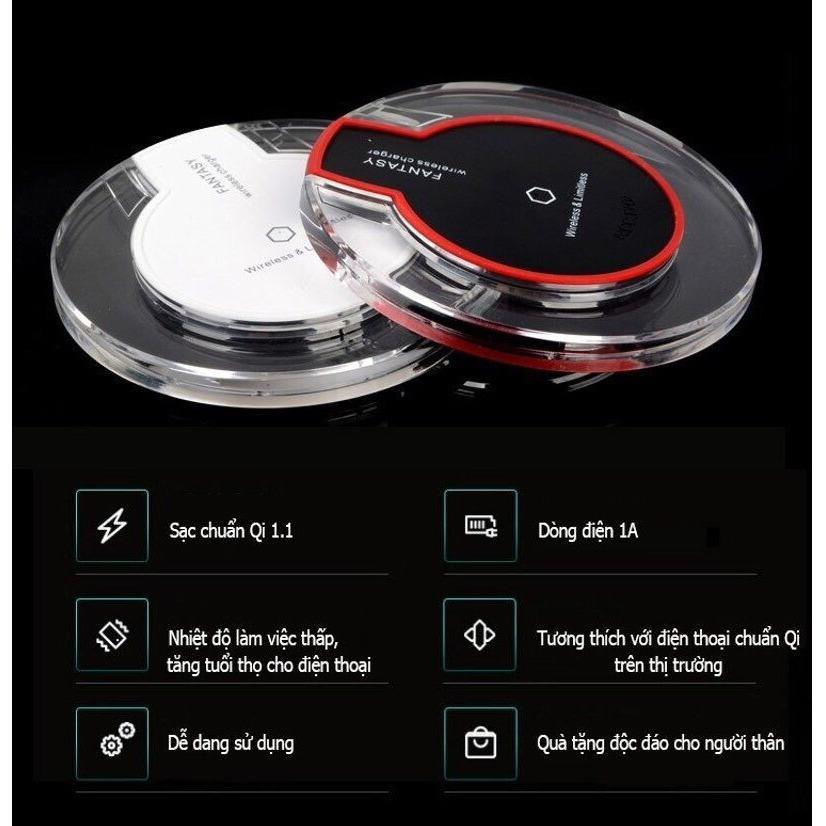 Đế sạc không dây thông minhh chuẩn Qi – Sạc nhanh 1A dùng cho các dòng điện thoại chuẩn Qi