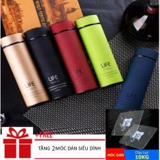 Bình giữ nhiệt cao cấp 3 lớp Life Flask 450ml(TẶNG 2 MÓC SIÊU DÍNH)