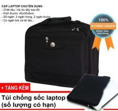 """Cặp xách, túi đựng laptop 14"""",15″ Logo nổi DC10, đa năng phù hợp mọi thương hiệu, có ngăn đệm và dây đeo vai (Màu đen)"""