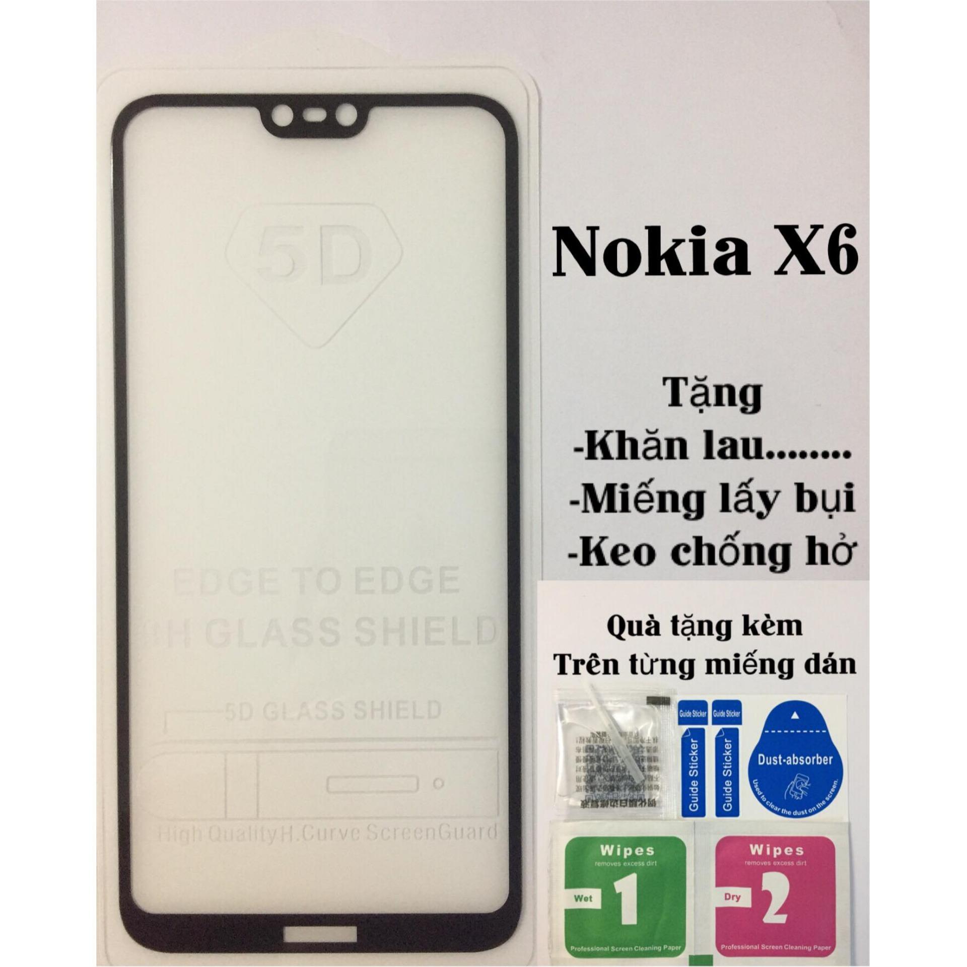 Kính cường lực Nokia X6 Tặng miếng lau ướt và khô,keo dán hở mép,lấy bụi Đang Bán Tại PS Shop