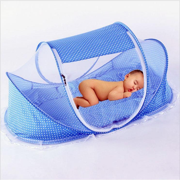 Màn mùng ngủ chống muỗi cho bé Happy Baby + nệm + gối + phát nhạc (xanh)