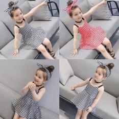 FREE SHIP TỪ 199k- Com bo 02 Váy thiết kể kẻ caro kèm băng đô cho bé gái ( 02 bộ mầu ghi và đỏ như hình)
