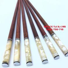 Bộ 10 đôi đũa ăn gỗ Cẩm lai cao cấp đầu tròn gắn trai biển