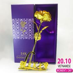 Hoa hồng mạ vàng 24K cao cấp có kèm đế LOVE